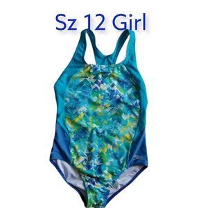 Speedo Sz 12 Girls Keyhole back Swimsuit